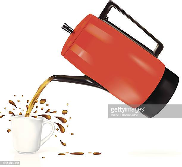 Retro Coffeepot Pouring Splashing Coffee
