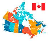 Retro Color Map of Canada. Vector Illustration