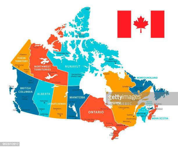 Retro-Farbkarte von Kanada. Vektor-Illustration