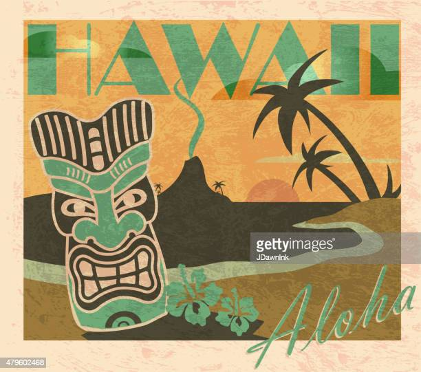 retro colored summer tiki bar hawaiian party postcard design template - postcard stock illustrations, clip art, cartoons, & icons