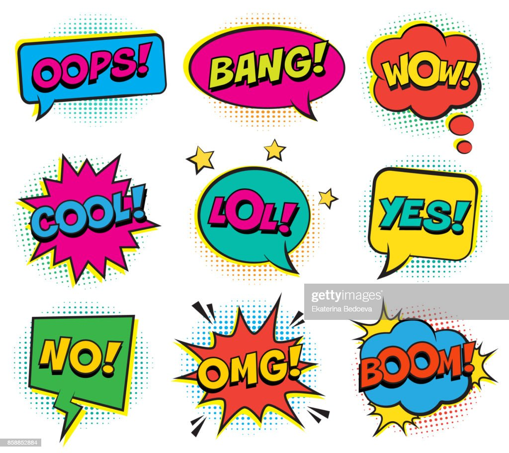 Retro colorful comic speech bubbles set with halftone shadows on white background.