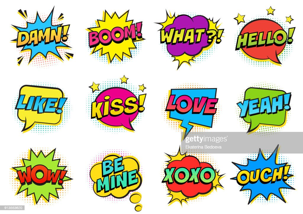 Retro colorful comic speech bubbles set with halftone shadows on white background. Expression text HELLO, YEAH, LOVE, LIKE, WOW, OUCH, DAMN, BOOM, XOXO, WHAT etc.