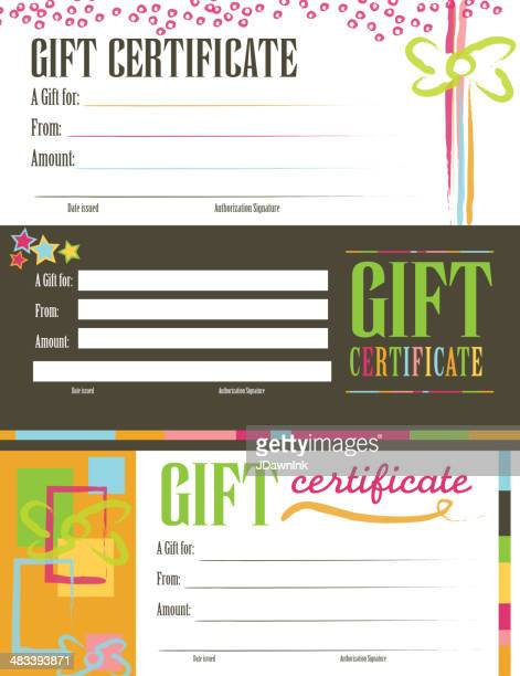 Retro colorful Gift certificate set