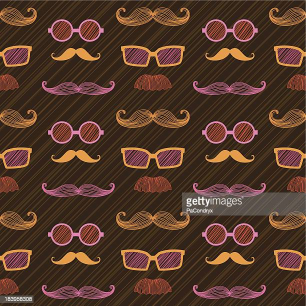 Retro Colorful Hipsters repeating pattern