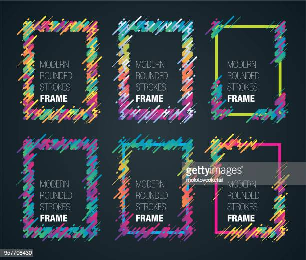 retro colorful rounded strokes frame set - art and craft stock illustrations