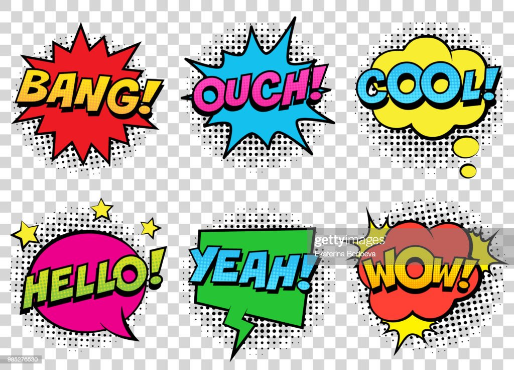 Retro comic speech bubbles set on transparent background. Expression text BANG, COOL, OUCH, HELLO, YEAH, WOW.