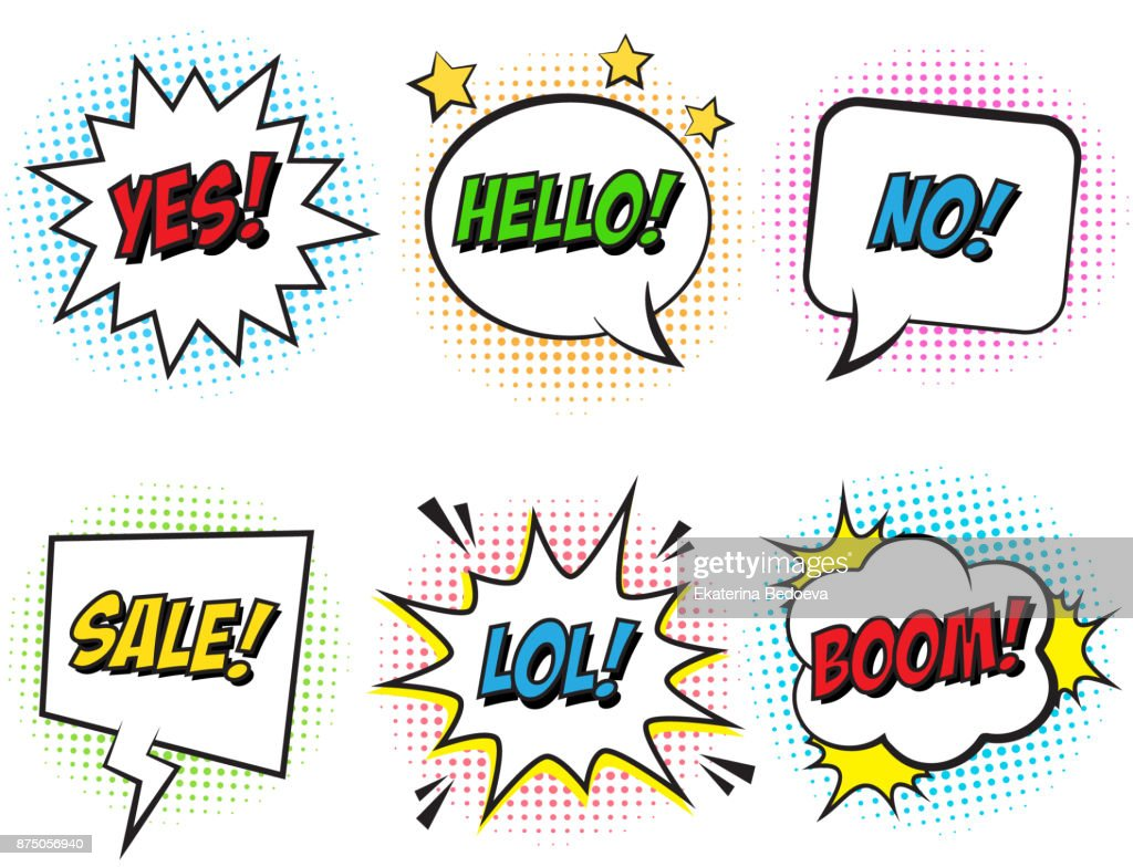 Retro comic speech bubbles set with colorful halftone shadows on white background. Expression text NO, LOL, HELLO, BOOM, SALE, YES.