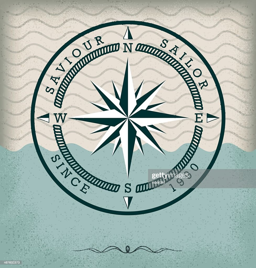 Retro compass nautical badge on a stylized water background