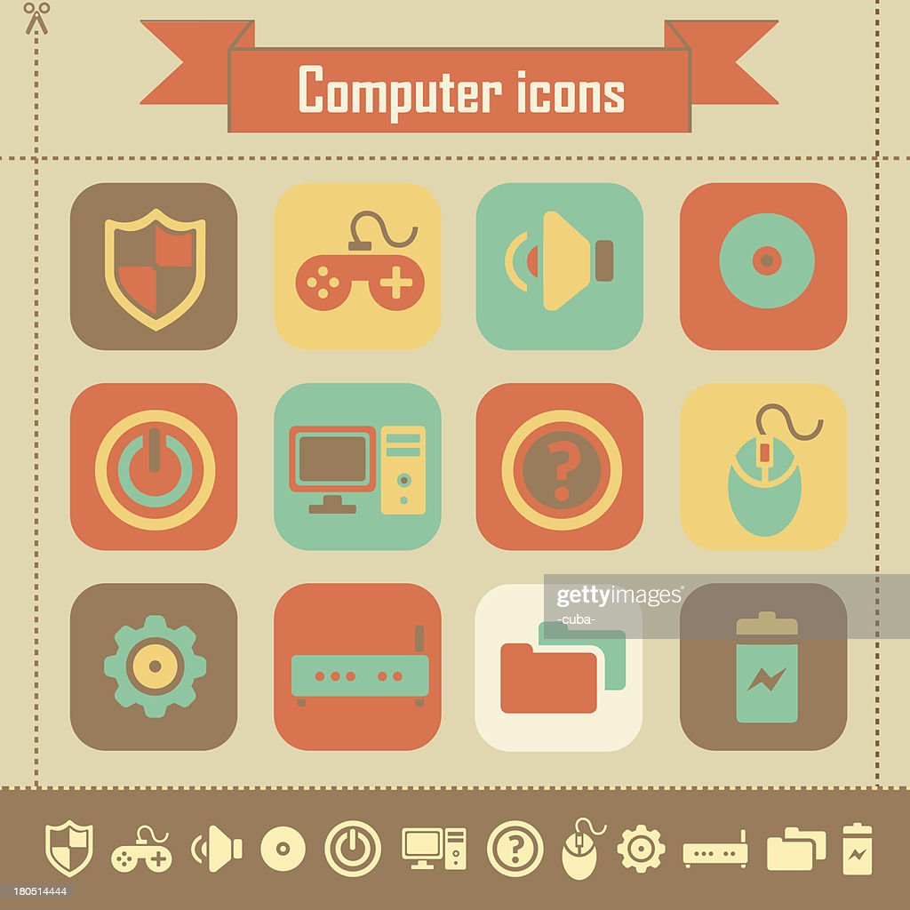 Retro Computer Icons Stock Illustration - Getty Images