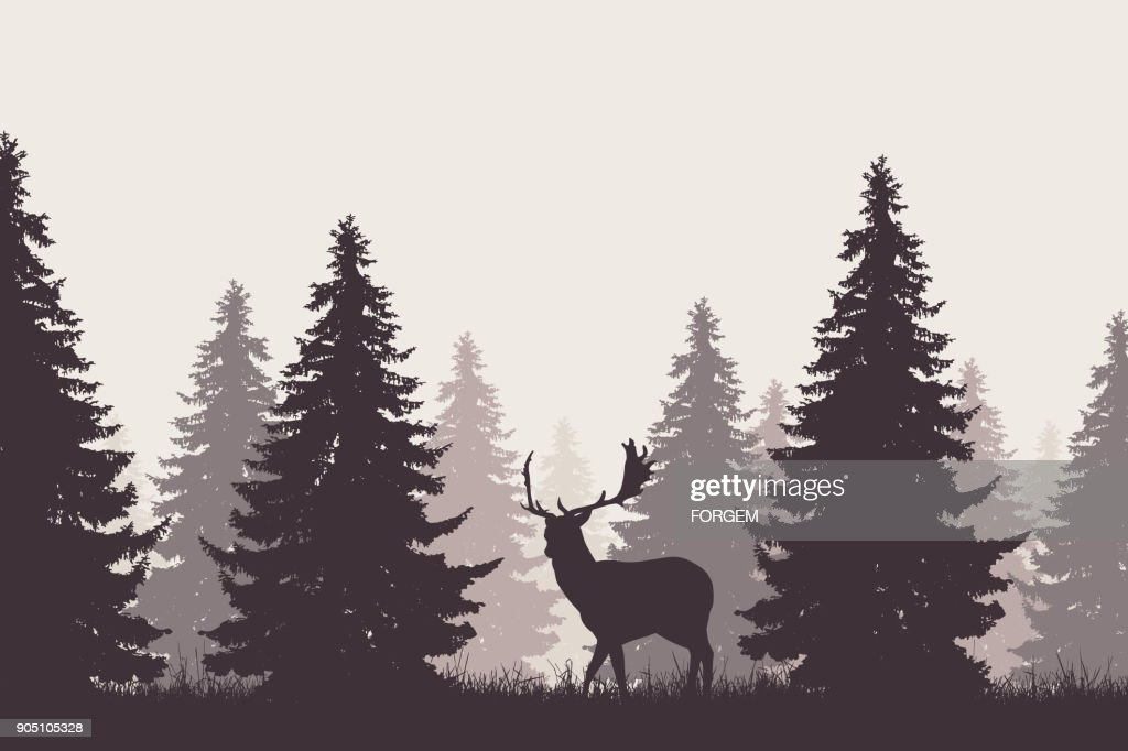A retro coniferous forest with silhouette of a fallow deer - vector