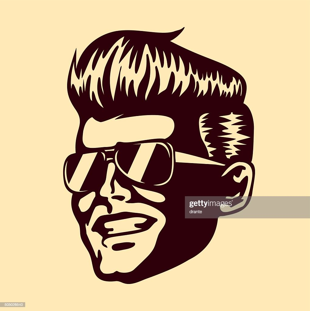 Retro cool dude man face sunglasses rockabilly hair vector