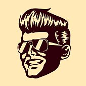 Retro cool dude man face sunglasses rockabilly hair vector
