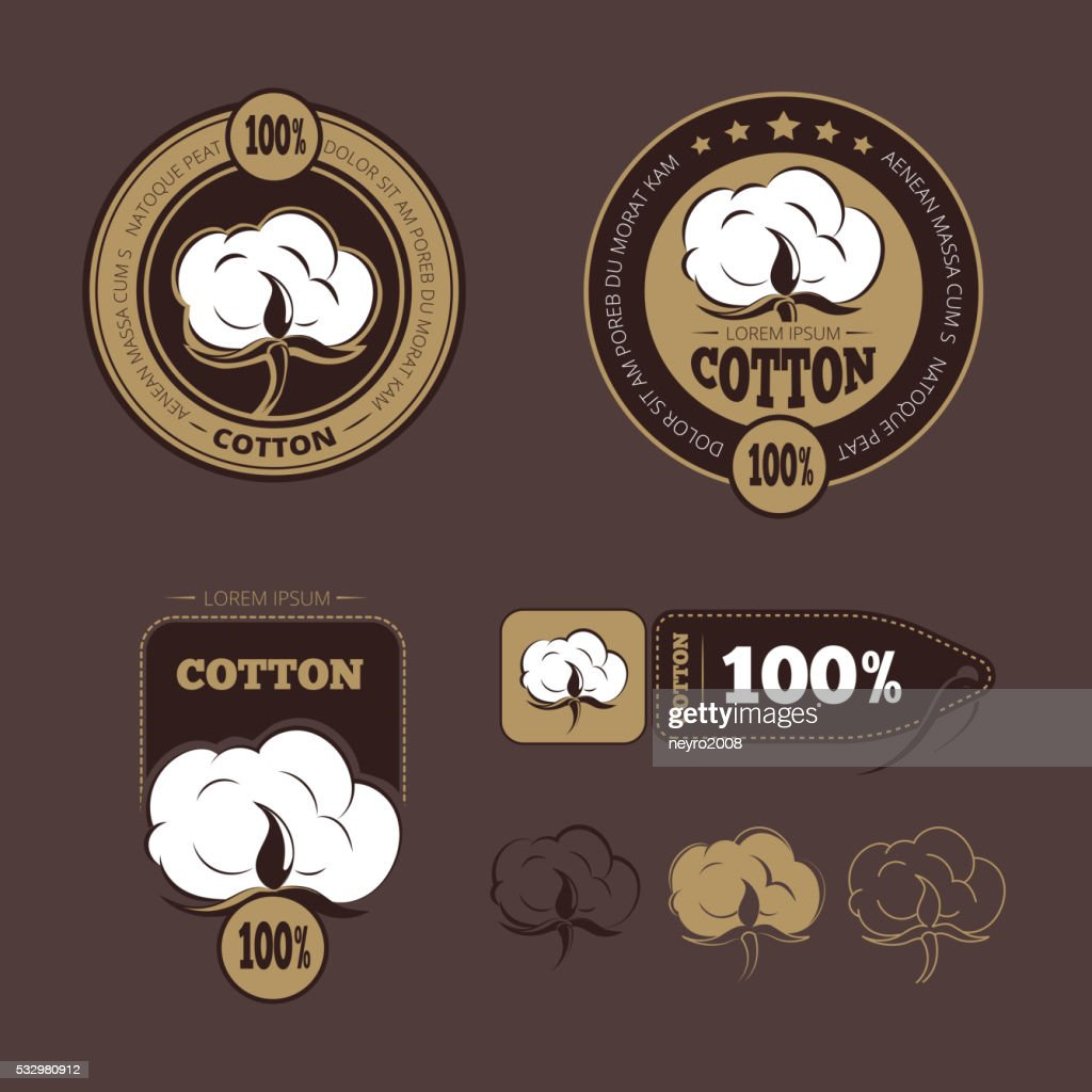 Retro cotton vector icons, labels