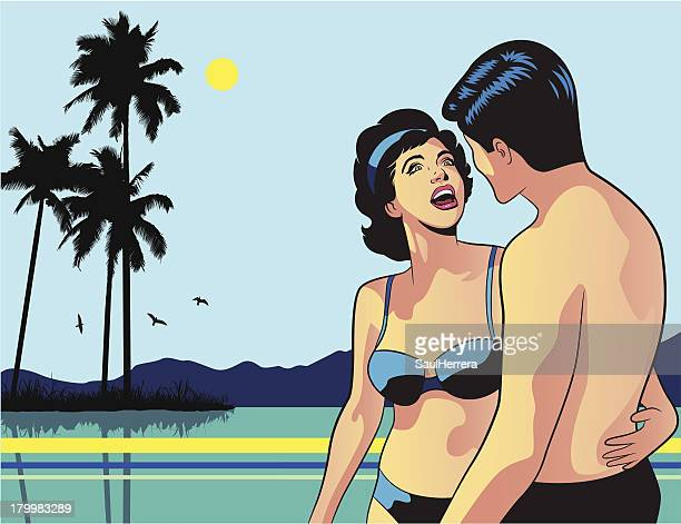 retro couple in the beach - sex and reproduction stock illustrations, clip art, cartoons, & icons