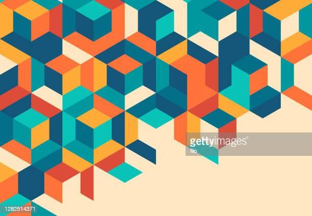 stockillustraties, clipart, cartoons en iconen met retro cube abstract achtergrondpatroon - blokken