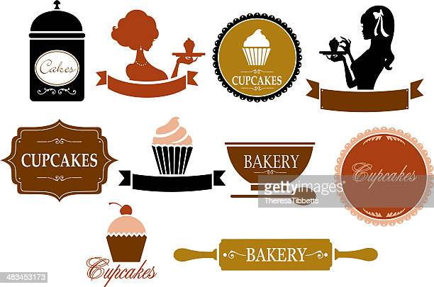 retro cupcake and bakery labels - making a cake stock illustrations, clip art, cartoons, & icons