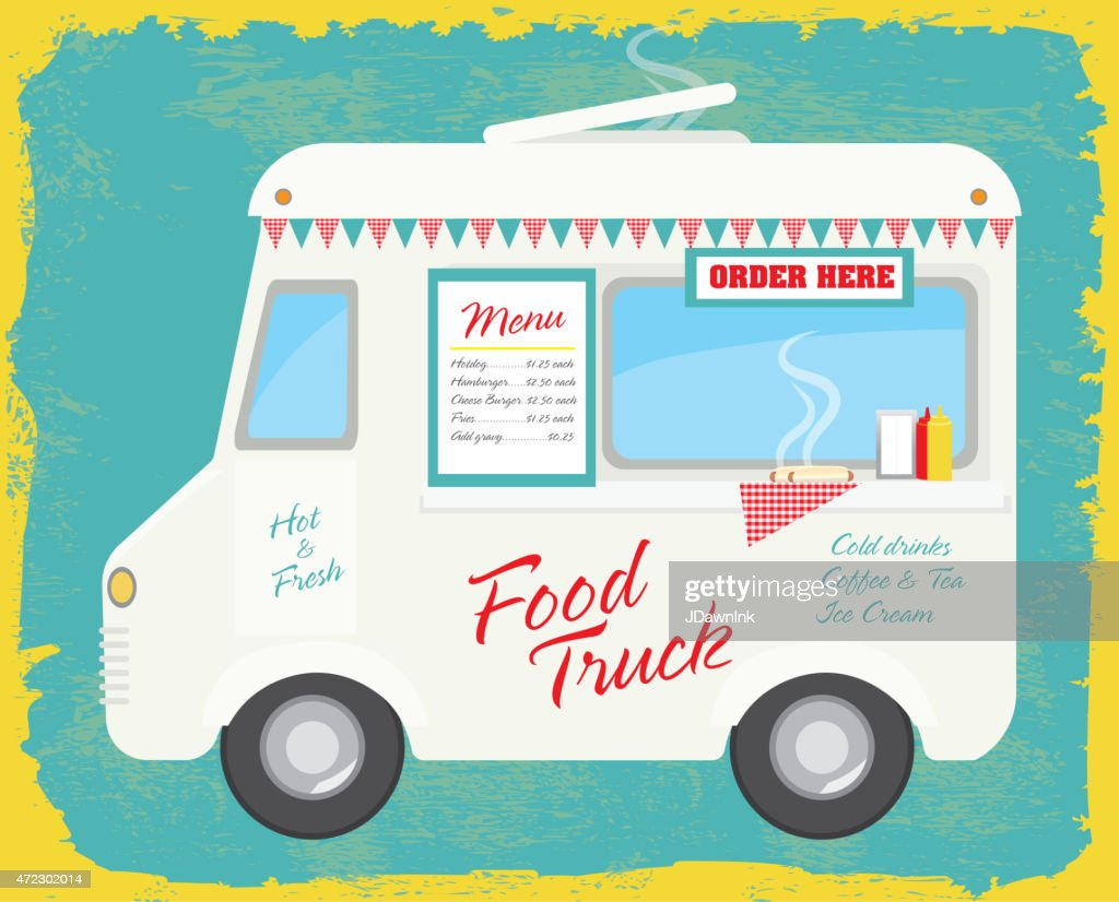 Retro Cute Contemporary Food Truck With Text Design And Bunting Vector Art