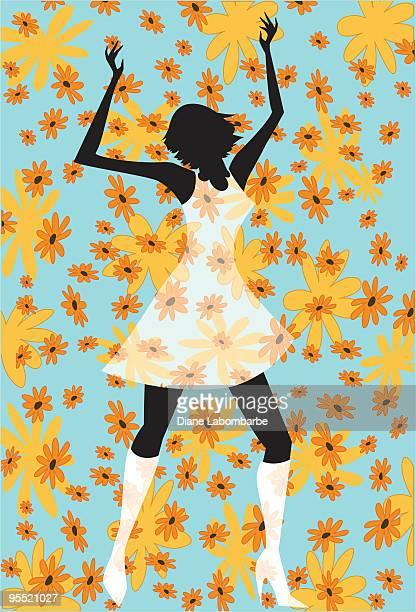 illustrations, cliparts, dessins animés et icônes de fille danse rétro - gogo danseuse