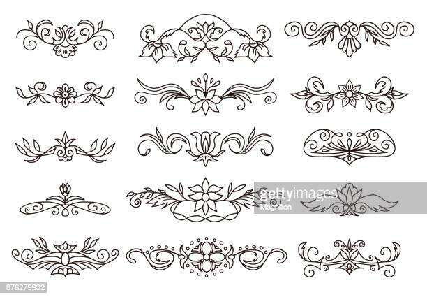 retro decorative elements scroll dividers - paper scroll stock illustrations, clip art, cartoons, & icons