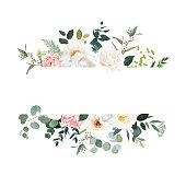 Retro delicate vector design flower horizontal banner