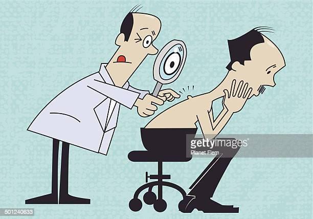 ilustraciones, imágenes clip art, dibujos animados e iconos de stock de retro dermatólogo - cancer de piel