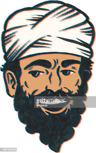 retro desert man - iranian culture stock illustrations, clip art, cartoons, & icons