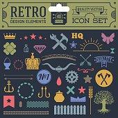 Retro design elements hipster style icon color set 1.