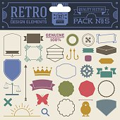 Retro design elements hipster style infographic color set 5.