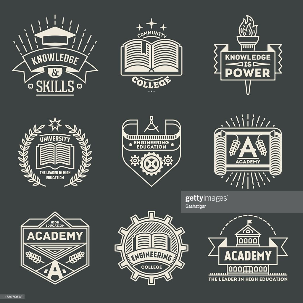 Retro design insignias high education logotypes set 2.