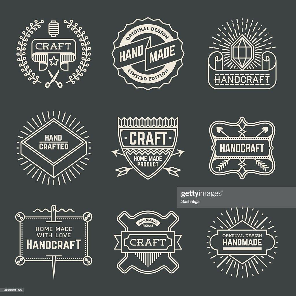 Retro design insignias logotypes set 15. Vector vintage elements.