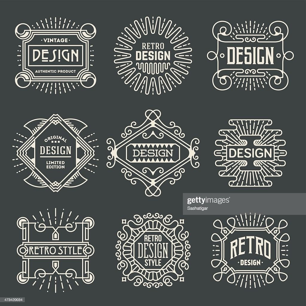 Retro Design Insignias Logotypes Template Set.