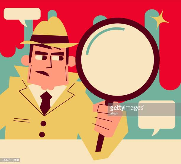 retro detective (inspector) holding a magnifying glass - mystery stock illustrations