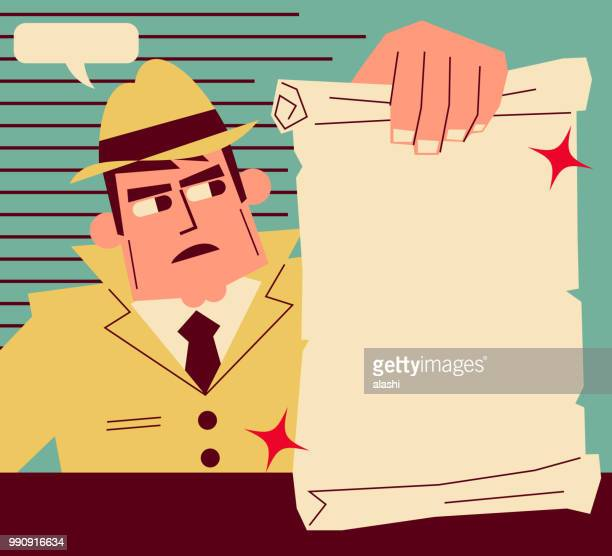 ilustraciones, imágenes clip art, dibujos animados e iconos de stock de retro detective (inspector) mostrando un papel en blanco - detective