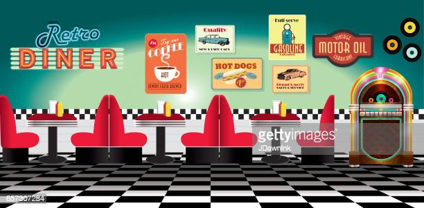 retro diner restaurant panorama with booths signs and jukebox - vintage restaurant stock illustrations