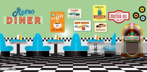 Retro diner restaurant panorama met cabines tekenen en jukebox