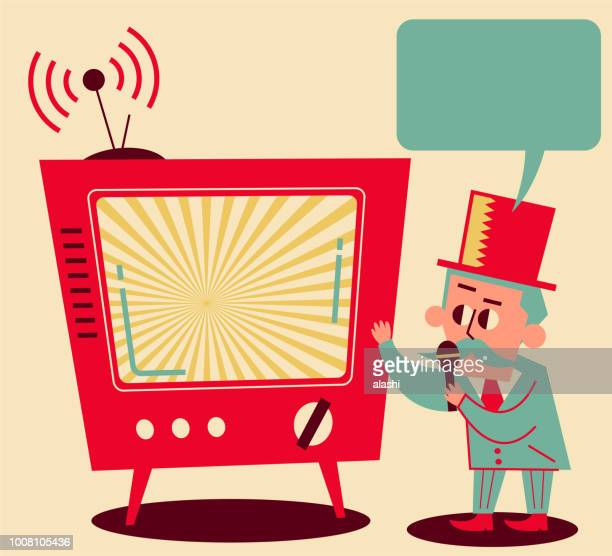 retro director talking with microphone, tv shows - insight tv stock illustrations