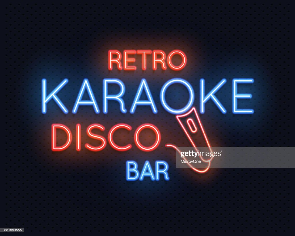 Retro disco karaoke bar neon light sign vector illustration