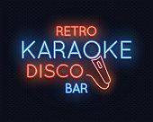Retro disco karaoke bar neon light sign vector illustration
