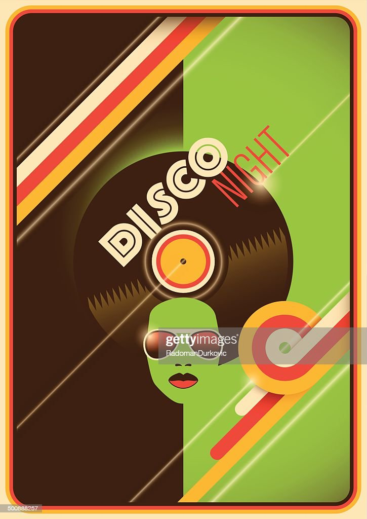 Retro disco night poster design.