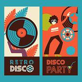 Retro disco.  Vector illustration, poster.