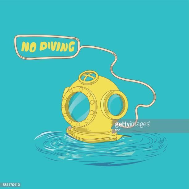 retro diving suit helmet - aqualung diving equipment stock illustrations
