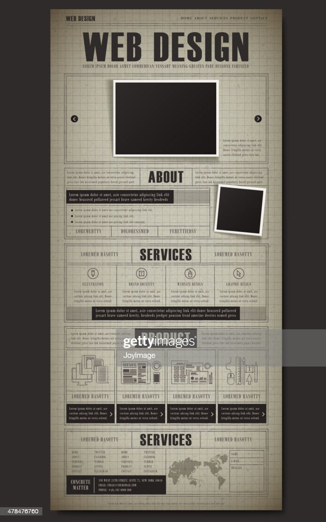 retro document style one page website template