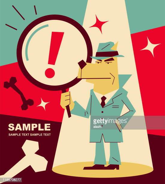 retro dog detective (inspector) holding a magnifying glass - zoom in stock illustrations