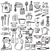 Retro Doodled Kitchen Gadgets and Cookware