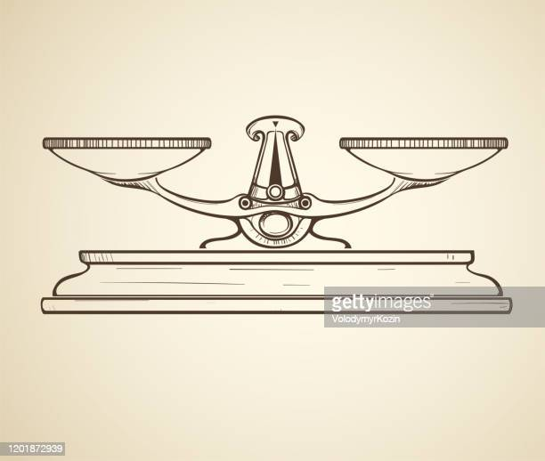 retro drawing of a vintage scales in the form of a sepia sketch - scales balance stock illustrations