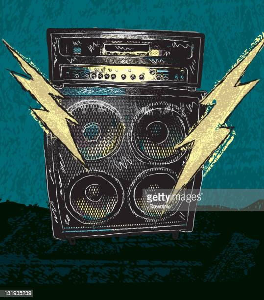 retro drawing of guitar amplifier with lighting bolts - modern rock stock illustrations