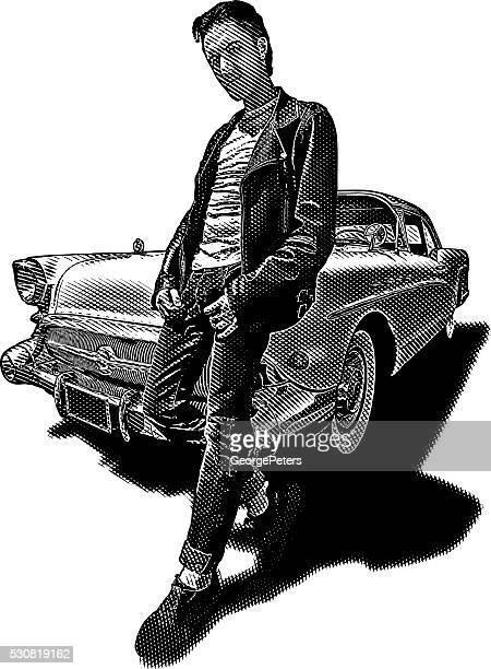 Retro Dude with Vintage Car