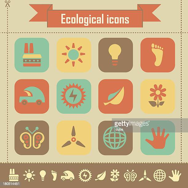 Retro ecological icons
