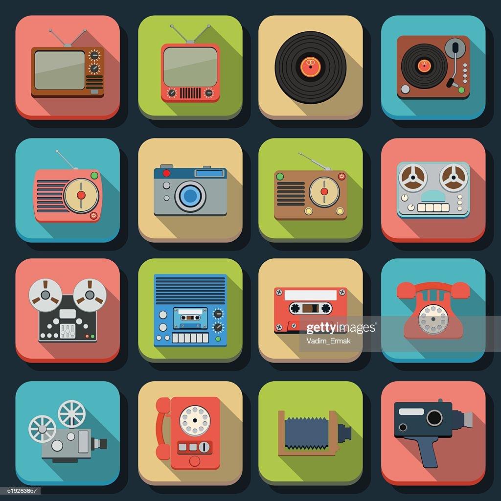 Retro electronic icons