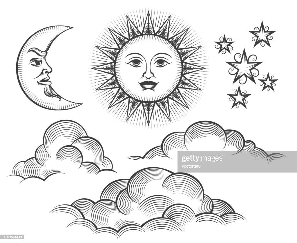 Retro engraved moon, sun celestial faces